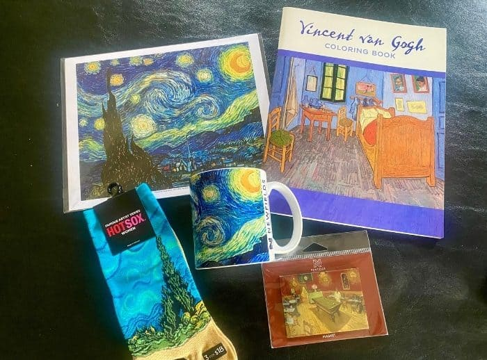 items from the gift shop for THE LUME Indianapolis Van Gogh Experience
