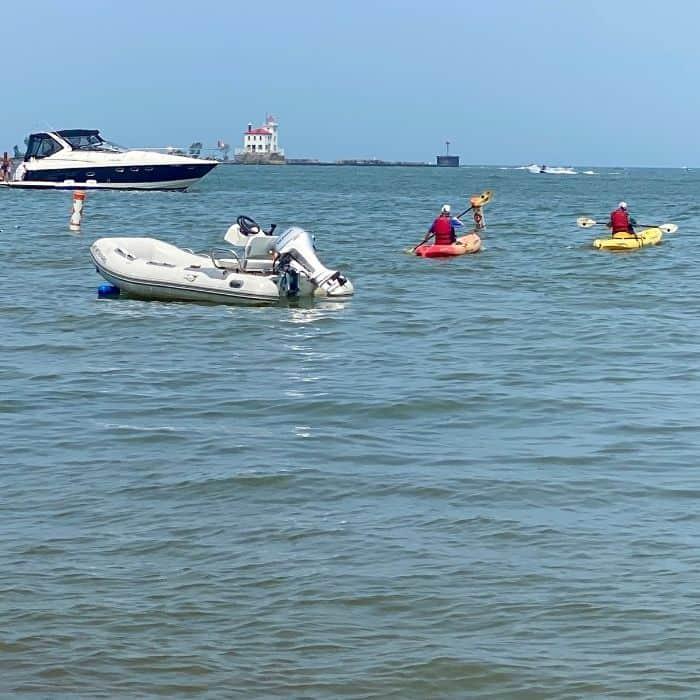 kayakers on Lake Erie near  Fairport Harbor Lakefront Park
