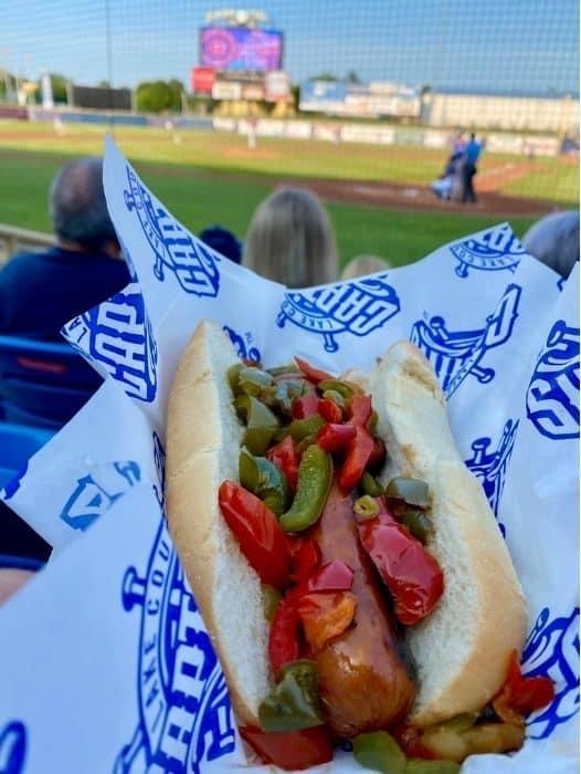 sausage at Lake County Captains Game at Classic Park
