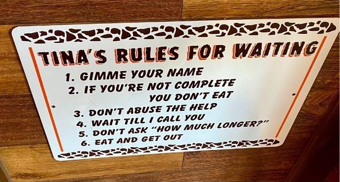 sign at JT's Diner