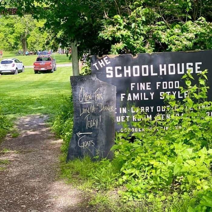 sign for Schoolhouse restaurant