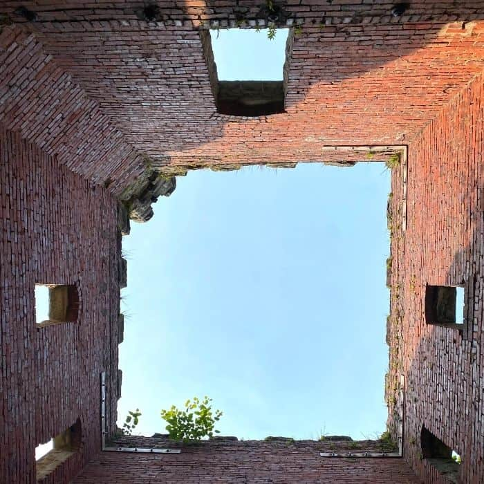 view looking up from inside Squire's Castle