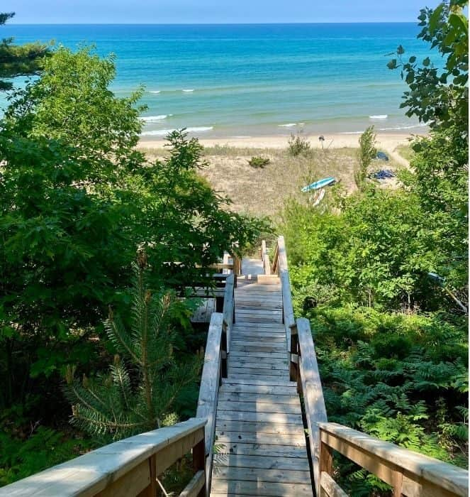 view of Lake Michigan from Whiskey Creek Cottage