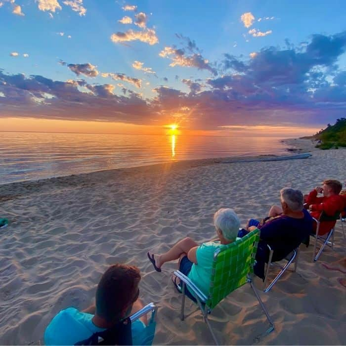 watch the sunset at Lake Michigan