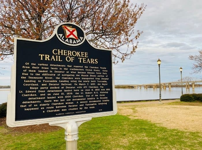Cherokee Trail of Tears Sign at Rhodes Ferry Park