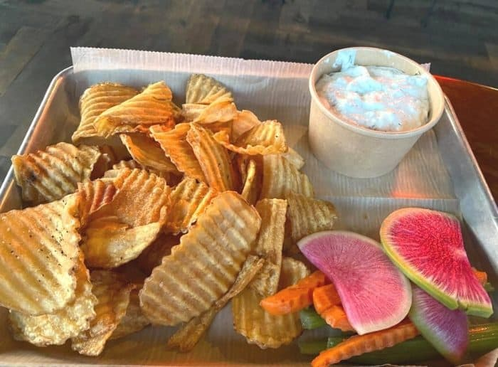 Pickle dip with watermelon radishes at Camp Lone Tree