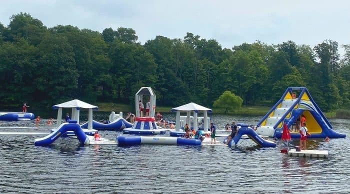 aquatic obstacle course at Kirkwood Adventure Park