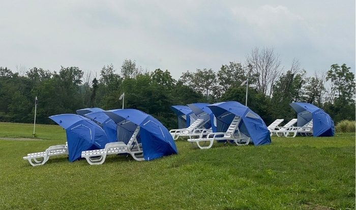 chairs with umbrellas at Kirkwood Adventure Park