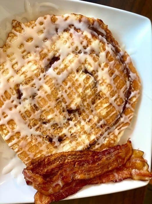 cinnamon swirl pancake with bacon at Lunchbox Eatery