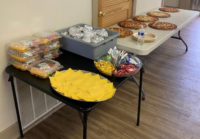food set up for groups in the meeting room at Kirkwood Adventure Park