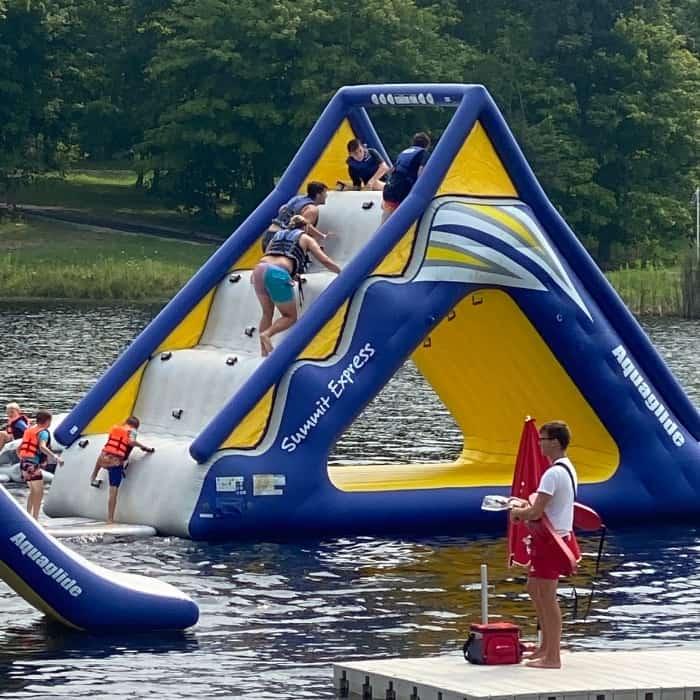 kids climbing aqua slide at Kirkwood Adventure Park