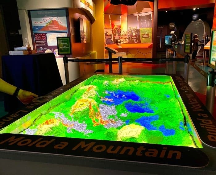 kinetic sand table at Cook Museum of Natural Science