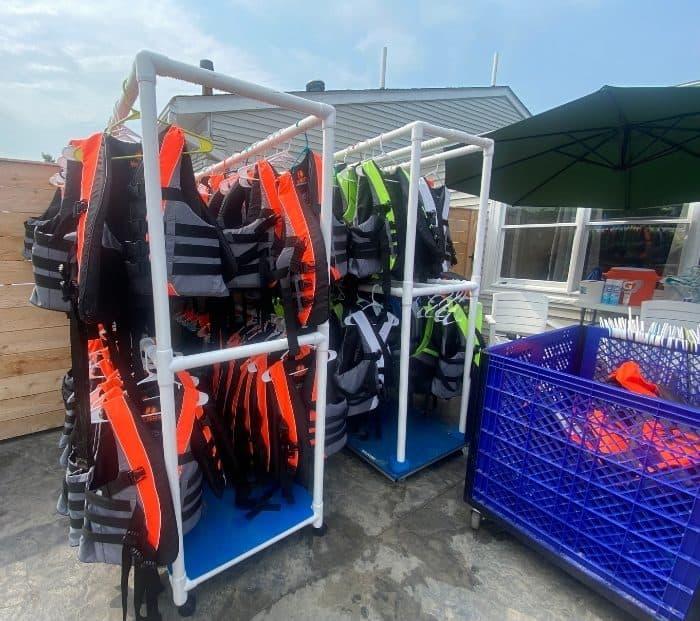 life jackets at Kirkwood Adventure Park
