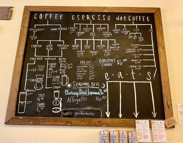 menu at Twenty Below Coffee Co