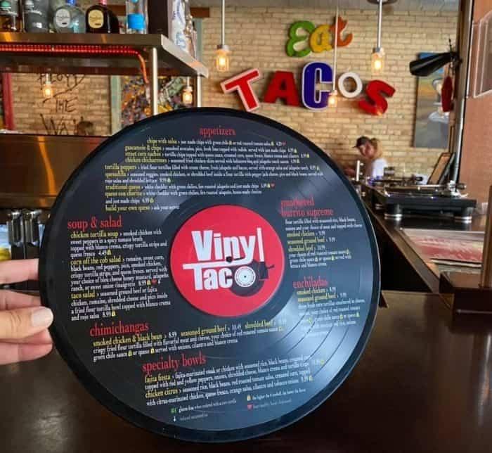 menu on vinyl at Vinyl Taco in Fargo