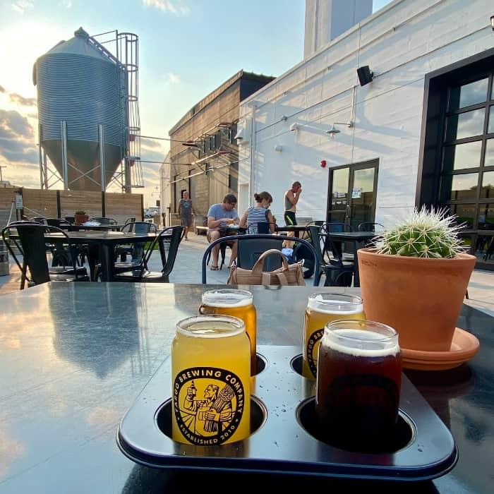 outdoor seating area at Fargo Brewing Company