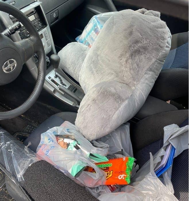 shopping bags in car