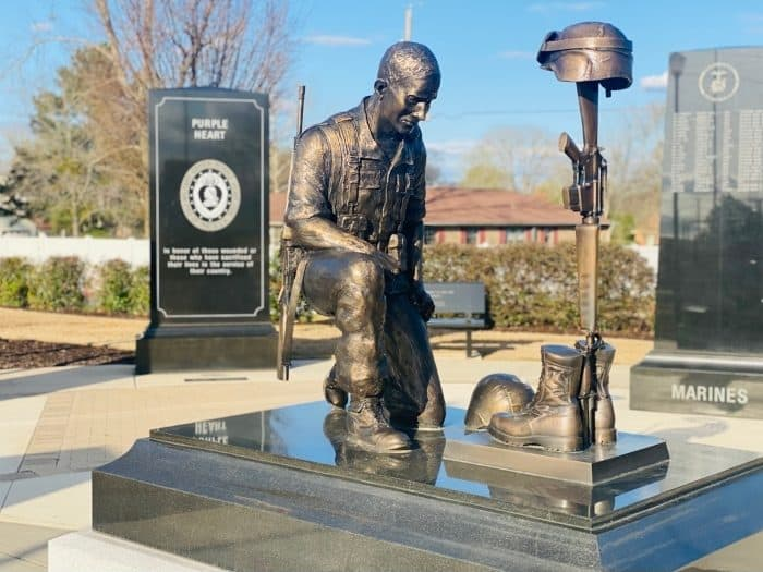 statue at Morgan County Veterans Memorial