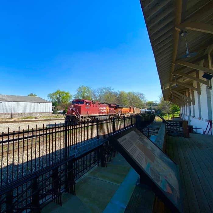 train passing The Historic Depot & Railroad Museum Decatur AL