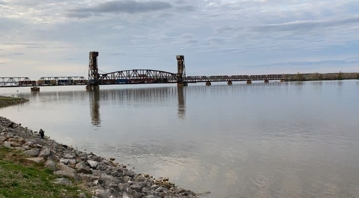 view of train bridge from Rhodes Ferry Park