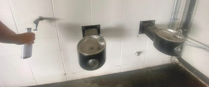 water fountain and water bottle refill area
