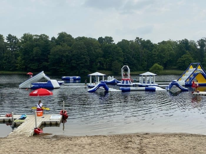 water obstacle course at Kirkwood Adventure Park