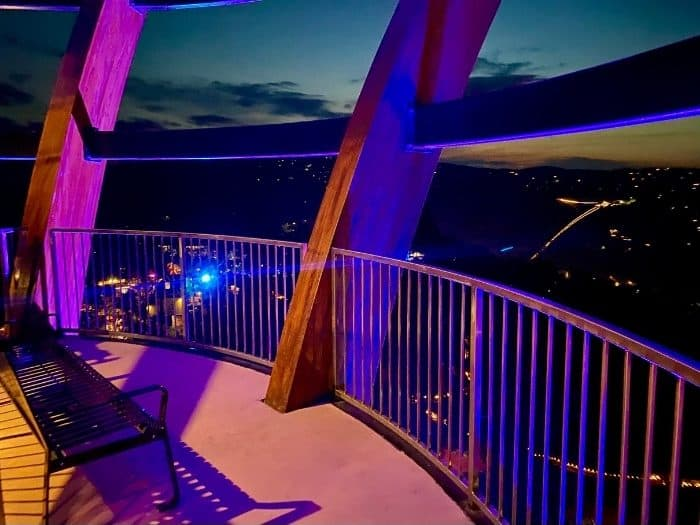 bench on the AnaVista Observation Tower at night