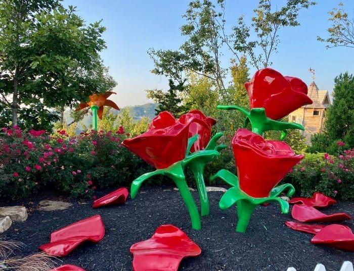 rose sculptures at Vista Garden Walk