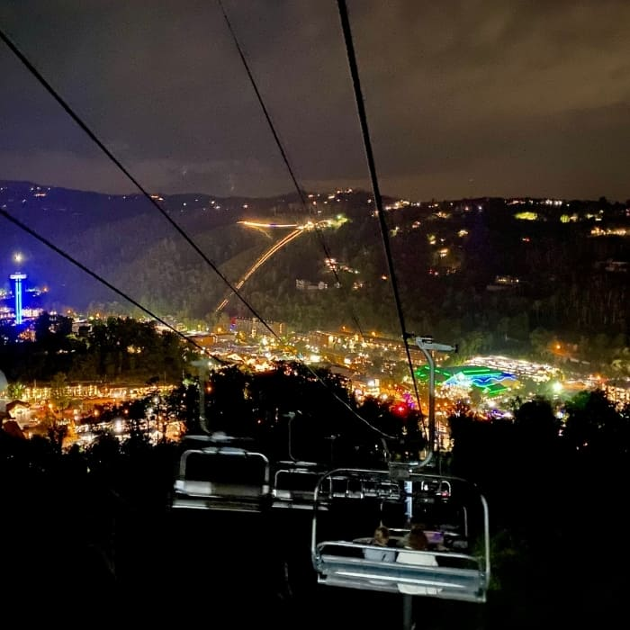 scenic chairlift at night at Anakeesta