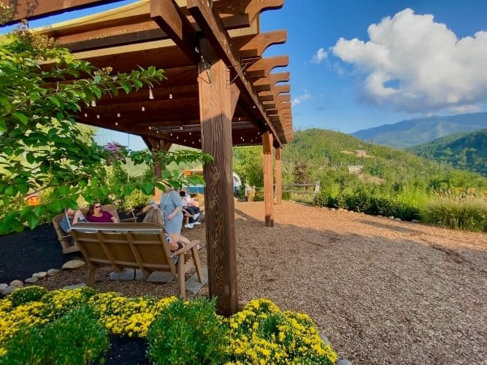 seating area with mountain views